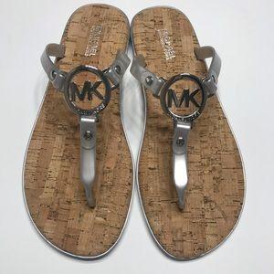 NEW Michael Kors Logo Sandals Flip Flop Silver 8,9